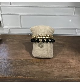 Gold Black Bead Stretch Bracelet Set B1606BK