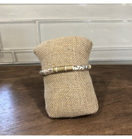 Silver Gold Wrap Stackable Stretch Bracelet B1621S
