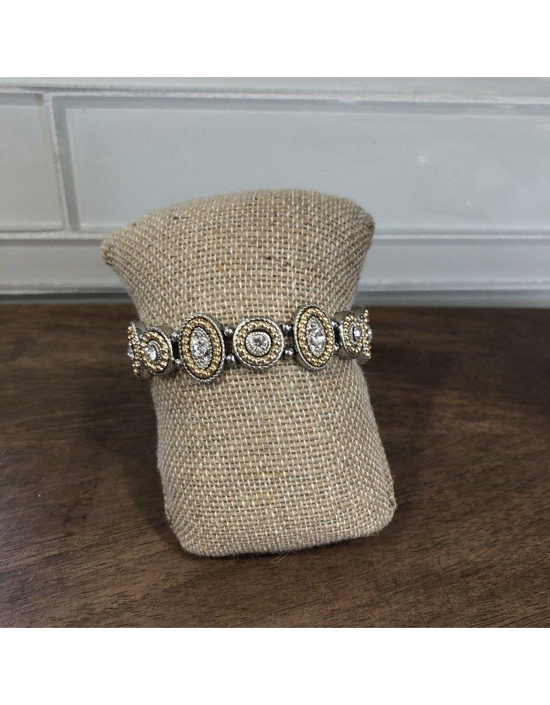 Two Tone Crystal Medallions Stretch Bracelet B1570TT