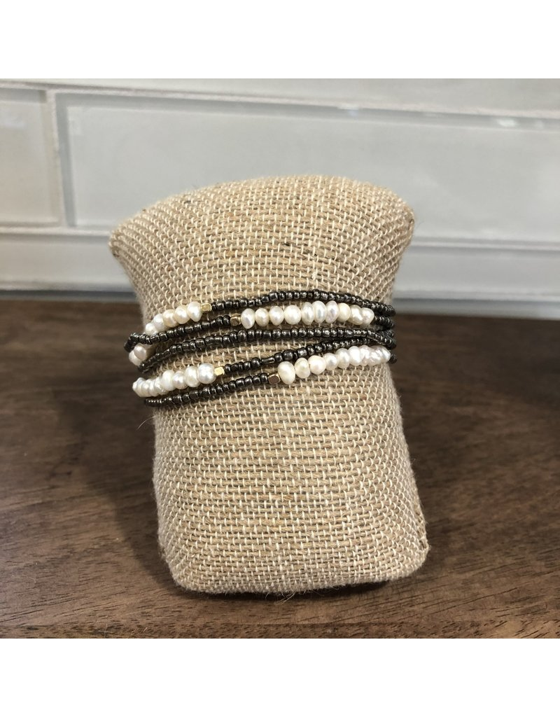 Hematite Pearl Stretch Bracelet Set B1605H