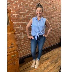 Renuar Blue stripe woven blouse R5837