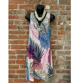 Hawaiin  print zipper tank dress d647v707