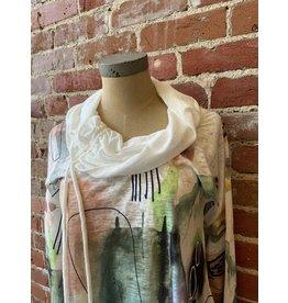 3/4 sleeve art summer turtleneck