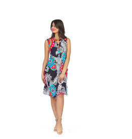 Paisley print Henley neck dress