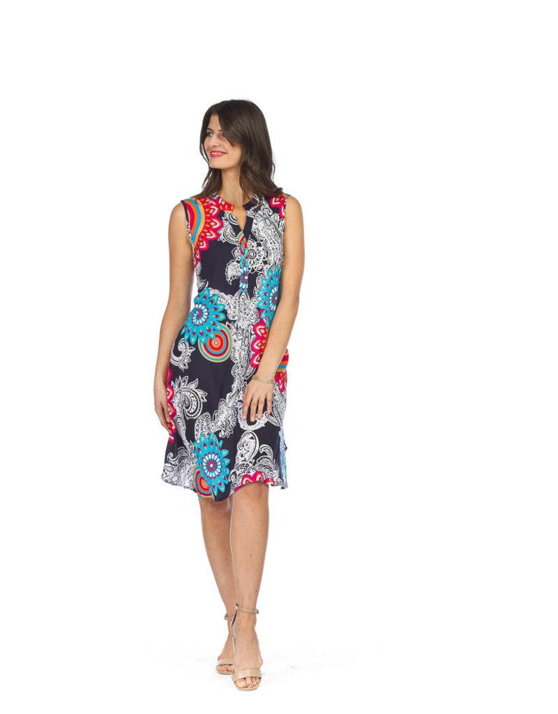 Paisley print Henley neck dress