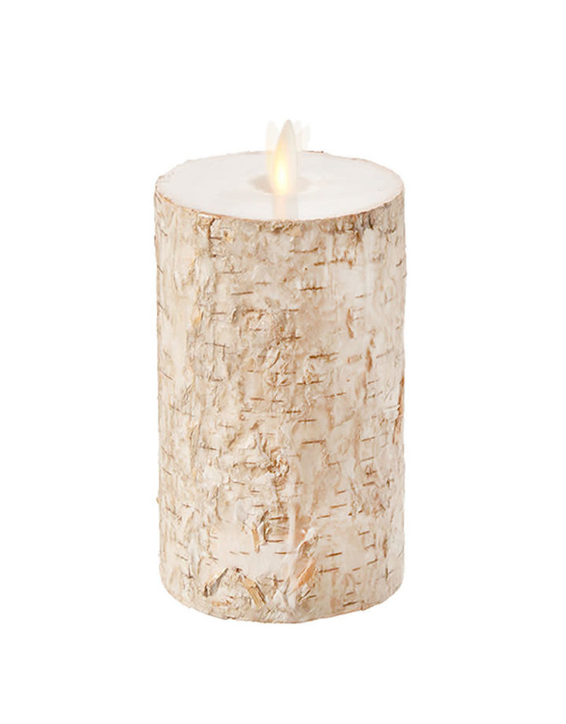"Pillar Candle Birch Wrapped 4""x7"" 37106"