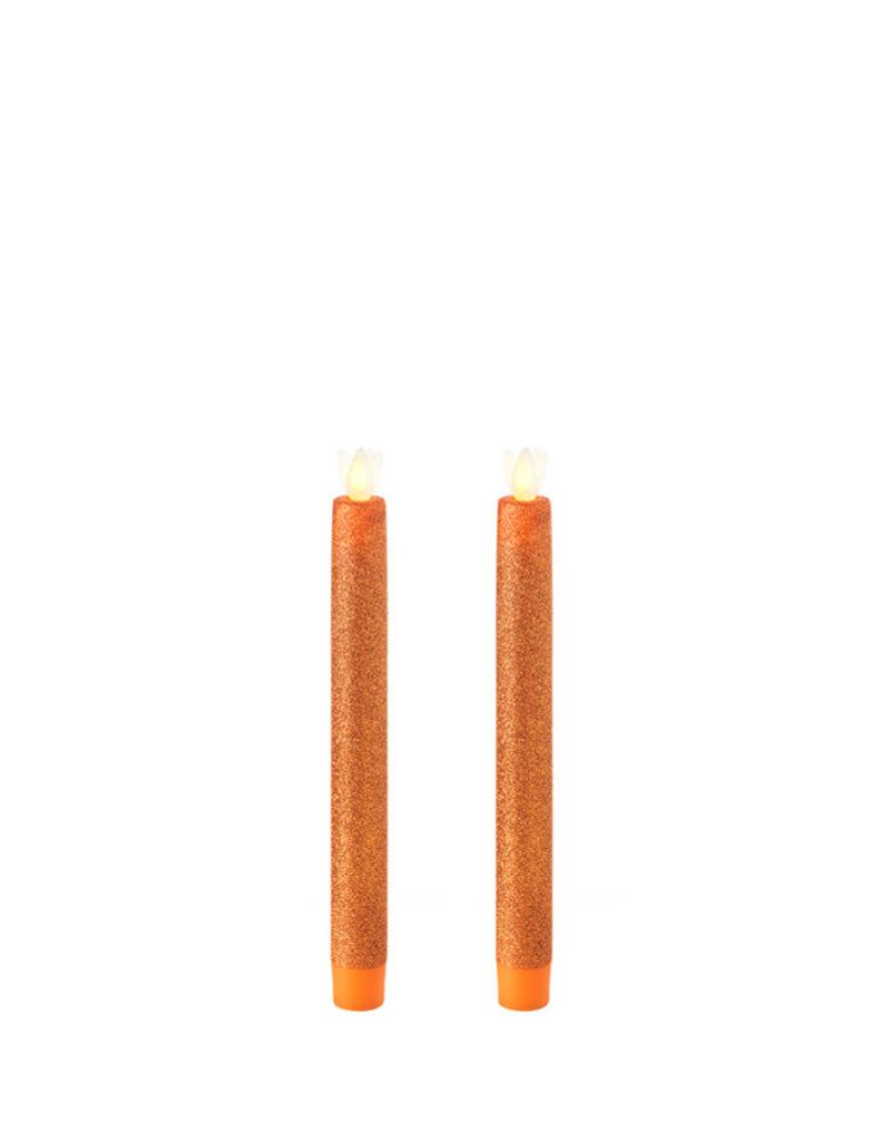 "Taper Candle Set/2 Glittered Orange 8"" 36043"