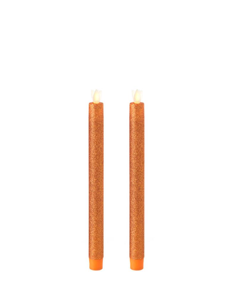 "Taper Candle Set/2 Glittered Orange 10"" 36044"