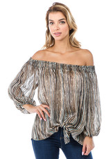 Sally off shoulder tie front top