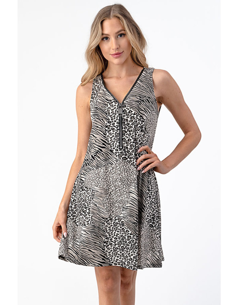 Jackie Animal print zipper tank dress
