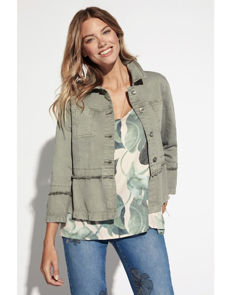 Tribal 3/4 Bell-sleeve olive jacket 63430