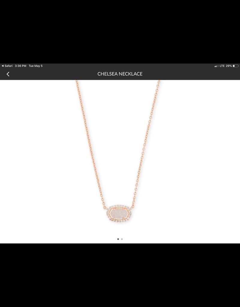 "KENDRA SCOTT Chelsea Pendant Necklace  rose gold iridescent drusy cz 15"" 4217714164"