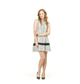 Papillon White/Black Stripe A-Line Dress PD03761