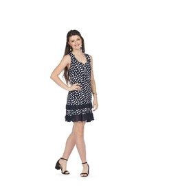 Papillon Navy Dotted Ruffle Hem Dress PD05681