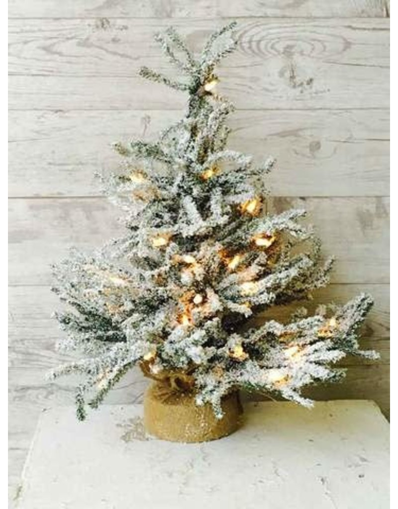 "Pine Snow Tree Burlap w/Clear Lights 18"" XE6561"