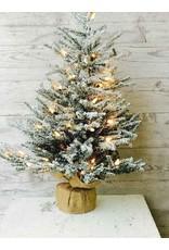 "Pine Snow Tree Burlap w/Clear Lights 24"" XE6562"