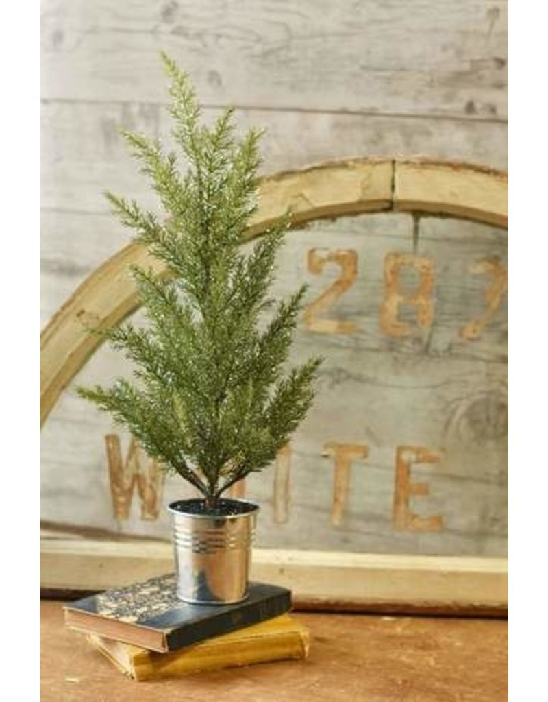 "Potted Glittered Cedar Tree 18"" XJ6371"