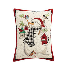 Snowman  with birds hooked pillow
