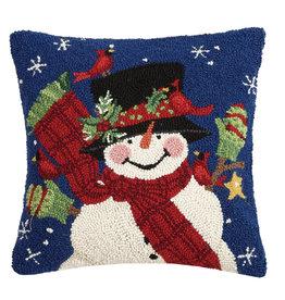 Frosty friends hooked pillow