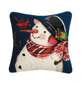 Snowman with cardinal on nose hooked pillow