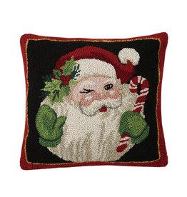 Retro Santa wishes hooked pillow