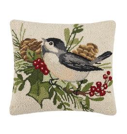 Winter chickadee hooked pillow