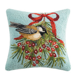 Chickadee with winterberry hooked pillow