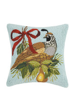 Holiday quail with pear hooked pillow