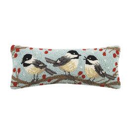 Winter chickadees hooked pillow