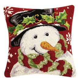Snowman hooked pillow