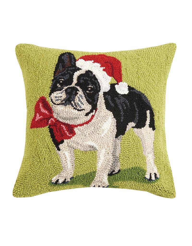 Christmas French bulldog hooked pillow