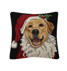 Holiday retriever hooked pillow