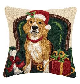 Christmas beagle with Santa hooked pillow