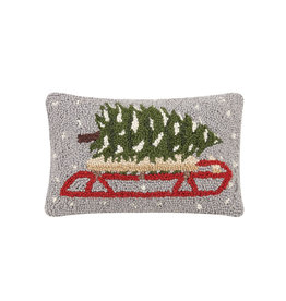 Tree on sled hooked pillow