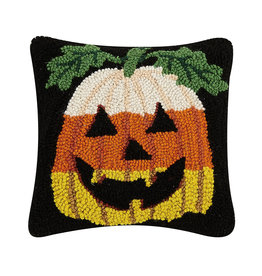 Candy corn pumpkin hooked pillow