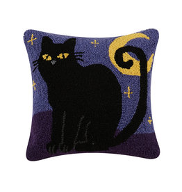 Cat & Moon hooked pillow