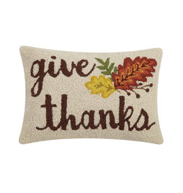 Give thanks hooked pillow