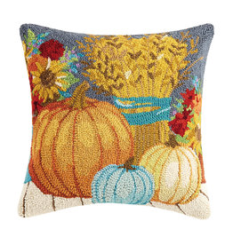 Harvest home hooked pillow