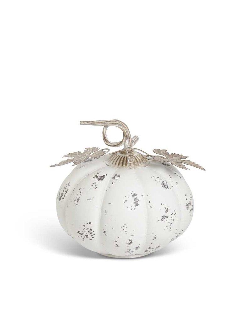 9 Inch Distressed White Metal  Pumpkin