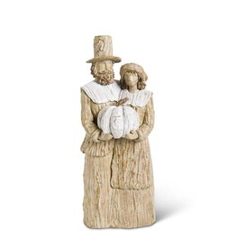 16 Inch Tan & Cream Resin Pilgrim Man & Woman