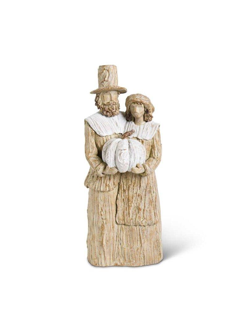 16 Inch Tan & Cream Resin Pilgrim Man & Woman