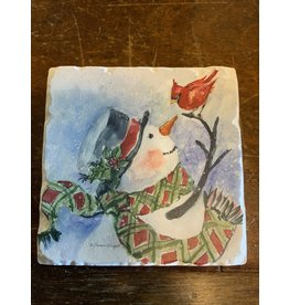 Watercolor Snowman coaster