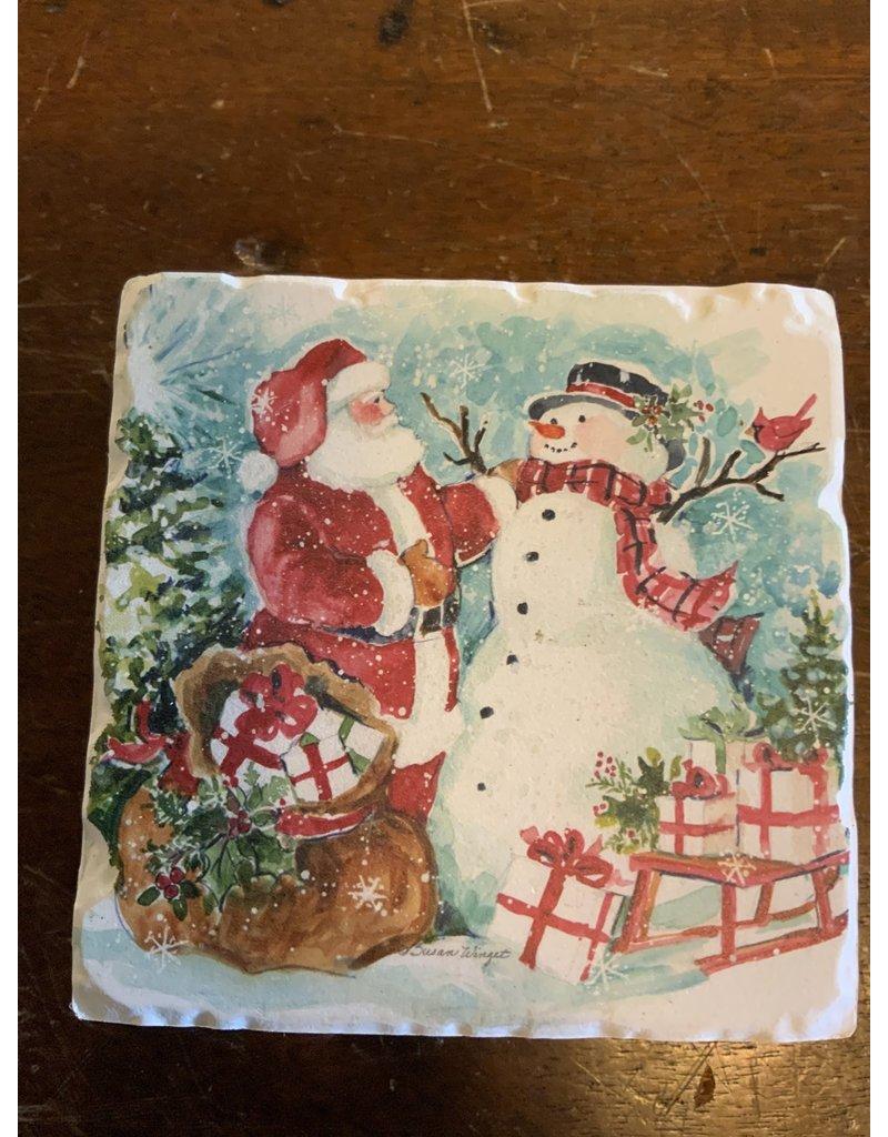 Watercolor Snowman coaster