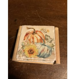 Harvest pumpkin & sunflowers coaster set
