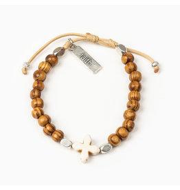 MY SAINT MY HERO Grounded in faith bracelet white howlite & wood beads