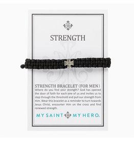 MY SAINT MY HERO Strength Bracelet for men silver/black