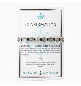 MY SAINT MY HERO confirmation blessing bracelet- black