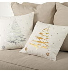 """Embroidered & Silver Foil Print Pillow 20"""" Sq - 9281.S20S"""