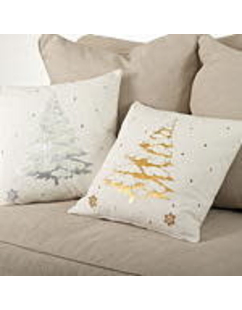 "Embroidered & Silver Foil Print Pillow 20"" Sq - 9281.S20S"