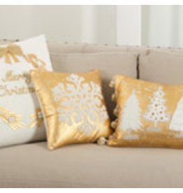 """Merry Christmas Embroidered Pillow 18"""" White - 9387.W185"""